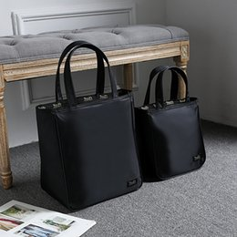Wholesale Women Black Color Tote Lunch Bag Shopping Bag Casual Handbag in Thick High Quality Waterproof Nylon Material Sizes Available