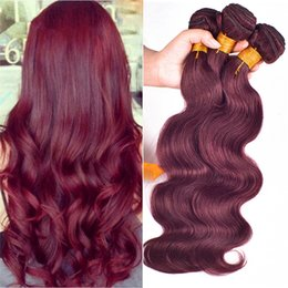 3Pcs Lot Peruvian Burgundy Hair Weaves #99J Body Wave Peruvian Human Hair Extensions 8A Wine Red Peruvian Hair