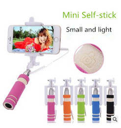 Wholesale Super Mini Wired Selfie Stick Handheld Portable Foldable Foam Monopod Fold Self portrait Stick with Cable for Sansung cases iphone cases