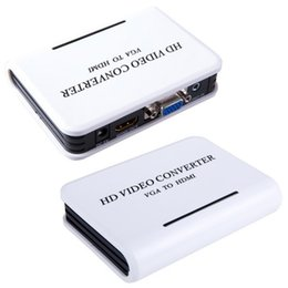2016 convertisseurs vidéo 1080P Audio VGA vers HDMI Video Converter HD HDTV Box adaptateur pour PC portable DVD avec prise EU / US convertisseurs vidéo ventes