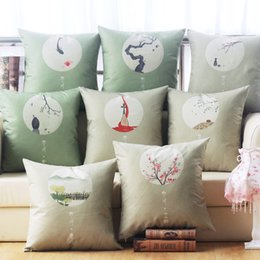 Wholesale 2016 China nostalgia series antique wind linen cushion bed pillow pillowcase with auto office waist protector cushion core