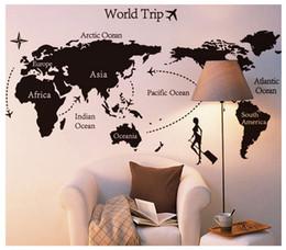 Calcomanías de decoración de la habitación en venta-Elegante mapa de la oficina en casa mapa de la pared pegatina decorado sala de estar dormitorio sofá imágenes de vinilo adhesivos de pared
