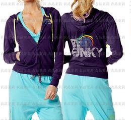Slimming body building yoga dance sports fitness long-sleeve jacket women's zipper sweater outerwear