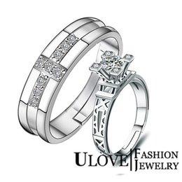 Wholesale CZ Couple Wedding Eiffel Tower Pair Rings Anillo De Oro Anniversary DN01