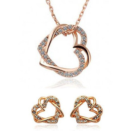 Double Heart Design Crystal Necklace and Earring Sets Material Diamond Heart Pendant Necklace Stud Earrings Jewelry Set