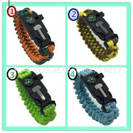 Wholesale Hot Outdoor Bracelet Survival Escape Life saving Bracelet Paracord Hand Made With Plastic Buckle Umbrella rope bracelets Camping compass bra