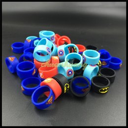 Wholesale Vaporizer Vape Band Silicone Rings with Superman Batman Flash Captain America Logo Colorful Rubber Rings fit RDA RTA Atomizer Mods DIY Free
