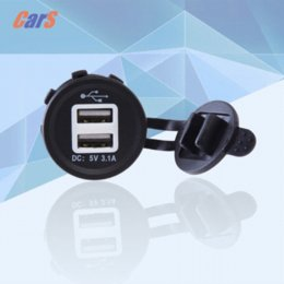 Wholesale BEST Motorcycle Car Charger Automobiles V Marine Dual USB Car Charger Adapter Socket Power Outlet LED Light H1E1