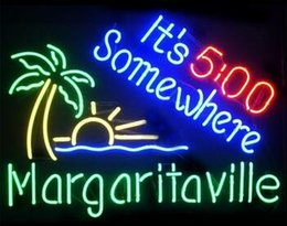 New Margaritaville Its 500 Somewhere Glass Neon Sign Light Beer Bar Pub Arts Crafts Gifts Lighting 22""