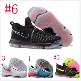 Wholesale 2016 Air Zoom KD Mens Basketball Shoes Oreo Grey Wolf Kevin Durant s Men s Training Sports Sneakers Warriors Home US Size