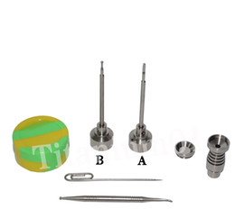 14&18mm Male 6holes Titanium nail fit 22mm bowl Titanium carb cap with 1 random Silicone Jar Container with 2 Real Ti dabbers