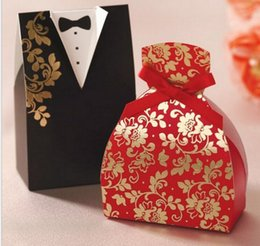 Wholesale Best Sale candy box bride groom wedding bridal favor candy box gift boxes gown tuxedo New