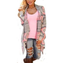 Wholesale Knitted Fashion Shrug - HOT Fashion Women Sweaters Cardigan Coat 2016 Autumn Winter Printed Shrug Sweater Irregular Hem Loose Blouse Poncho Plus Size