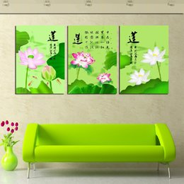 Unframed 3 Pieces free shipping picture Canvas Prints Lotus leaf Wine Glass flower mountain river Forest path tree petal Female model woman