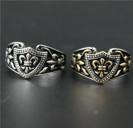 Size 7-14 Mens Womens 316L Stainless Steel Jewelry Silver Golden Fleur De Lis Ring Good Quality Special New Biker Ring