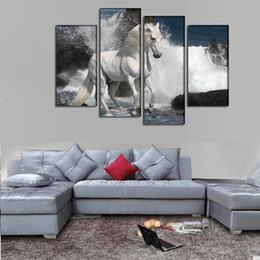 2016 New painting horse spray rocks sea oil painting For home Wall Art Picture Unframed gift free shipping