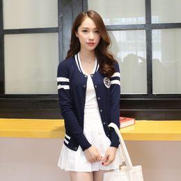 Wholesale Casual Baseball Sweater - 2016 autumn Korean fan sweater baseball uniform neck sportswear warm coat female fashion models badge female button cardigan