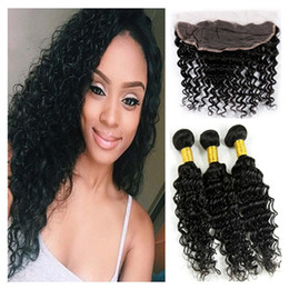 Brazilian Deep Curly 13x4 Lace Frontal Closure With Bundles 4Pcs Lot Unprocessed Virgin Brazilian Deep Curly Wave Weaves With Frontals
