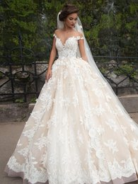 Wholesale Luxury Wedding Dresses Sheer Jewel Neck d Floral Lace Appliques Plus Size Bridal Gowns Custom Made Vintage Wedding Gowns