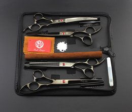 "#686 7"" High Quality Black Pet Grooming Hair Scissors Set,Cat Dog Fur Clipper Shears,1 Straight + 2 curved + 1 Thinning + 1 Bag"