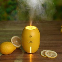 Wholesale Fruit Lemon Ultrasonic USB Humidifier With LED Light For Home Office Car ML Oil Aromatherapy Spray Lemon Air Diffuser Mist Maker Purifier
