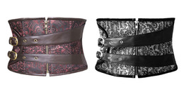 Wholesale Women Zipper Brocade steampunk waspie underbust corset has an attractive black brown pattern with buckle straps S to XL
