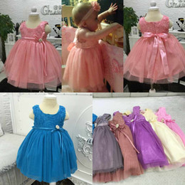 Wholesale Cheap Solid Clothes - Brand New Children Girls Dresses Cute Soft Tulle Baby Girls Gowns 2017 Cheap Sleeveless 9 Colors Flower Girls Dresses Kids Clothing MC0304