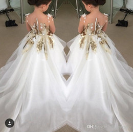 2016 New Design Flower Girls Dresses For Weddings Long Sleeves Gold Sequins Pageant Party Gowns First Communion Dress For Child Teens Custom