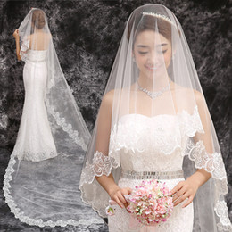 2016 White 1T 3M Bridal Wedding Veils Appliques Formal Occasion Lace Custom Made Veils For Bridal Wedding veils Length Bridal Veils