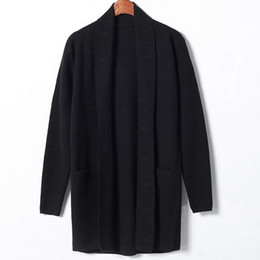 Wholesale 8886Tracyexp Men s long sleeve sweater Lapel Neck Men s cardigan Apparel Men s Clothing M XL Black gray Mens coat Mens jacket overcoat