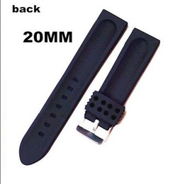 Wholesale-20PCS High quality 20MM rubber Watch band watch strap black color for wrist watch-6125
