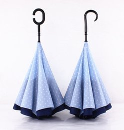 Wholesale New two layer inverted umbrellas Fashionable sunny and rainy umbrella Sky blue color Non automatic C handle and J handle Drop shipping