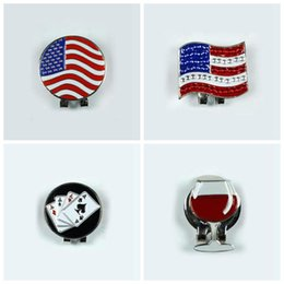 Wholesale 2016 New US FLAG Outdoor Alloy Golf Alignment Aiming Tool Ball Marker Magnetic Hat Clip Golf Accessories