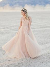 Romantic off the shoulder light pink colored sweep train fall wedding dress beach bridal dress custom made cheap wedding gown