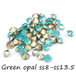 Green Opal Glass Rhinestones For Nails Art Decoration ss8-ss13.5 Pointback Mini Nail Rhinestone Non Hotfix Beads DIY Accessories