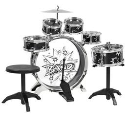 2017 ensembles de batterie Kids Drum Set Jouet pour enfants avec cymbales Stands Throne Black Silver Toys Toy Drum Kit ensembles de batterie sur la vente