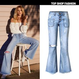 Wholesale The new arrival hot Blue loose elastic waist fashion retro big horn worn hole edge beggar hip hop jeans size XS S M L XL