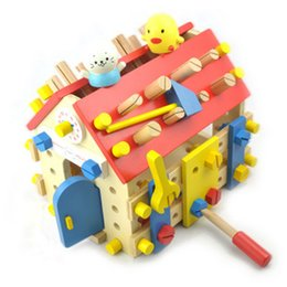 Wholesale Baby Toys Simulation Wooden Screw House Removable Toy Baby Educational Multifunctional Nut Combination Toy Gift