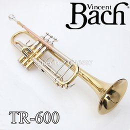 Wholesale New Bach Brass Trumpet TR Bb Gold Lacquer Trompeta Profissional Instrumentos Case Mouthpiece