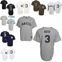 Wholesale Grey White Throwback Babe Ruth Replica Jersey Men s Mitchell And Ness New York Yankees