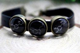 Wholesale 12pcs Dopamine Serotonin Adrenaline leather bracelet molecule bracelet biochemistry jewelry Geeky Bracelet