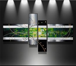 Wholesale Peintures à l huile abstraites modernes faites sur commande de set noir blanc vert sur des images d art de mur de toile pour la décoration à la maison de salon