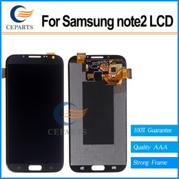 Good quality For Samsung For Galaxy Note 2 N7100 N7105 i317 T88 Lcd Digitizer Display Screen Assembly Grey or white with Frame Fast Shipping