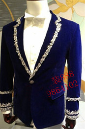 royal blue mens rhinestone beading sewing collar sleeve decoration tuxedo jacket party stage performance this is only jacket