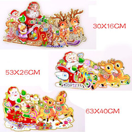 Wholesale Christmas Pictures On Match Box Three dimensional Santa Claus Deer Pull A Cart Sticker Pictures On Match Box CHRISTMAS Stickers Ornament