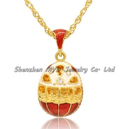 Stylish women jewelry hollow design necklace colorful enameled crystal girls Russian style Faberge egg pendants for ladies