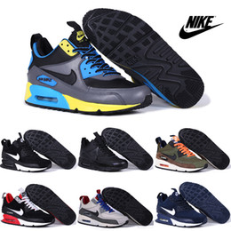 Nike Air Max 90 Sneakerboot Running Shoes Men High Quality Mid Cut Sneakers Cheap Gray Blue Sports Shoes Free Shipping Size 40-45