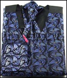 2017 boutons de manchette de smoking Gros-robe / Smokings mariée polyester gilet de 4pcs de l'homme (veste + ascot + boutons de manchette + mouchoir) boutons de manchette de smoking autorisation