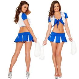 Скидка футбол одежда Оптово-сексуальный футбол младенца Cheerleader костюмы косплей Хэллоуин костюмы игры Униформа Школа Носить платье экзотическое одеяние