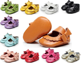 EMS free!40 pairs lot(mix color and size)Newest Genuine Leather Baby girls shoes Bow baby princess shoes Top quality newborn shoes
